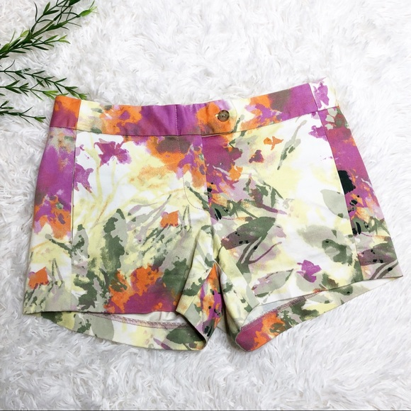 J. Crew Pants - J.Crew- Yellow Floral Chino Shorts - Size 0